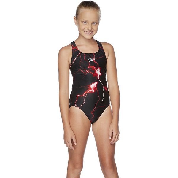 GIRLS SCHOOL COLOURS LEADERBACK ONE PIECE, USA Red/Black, hi-res