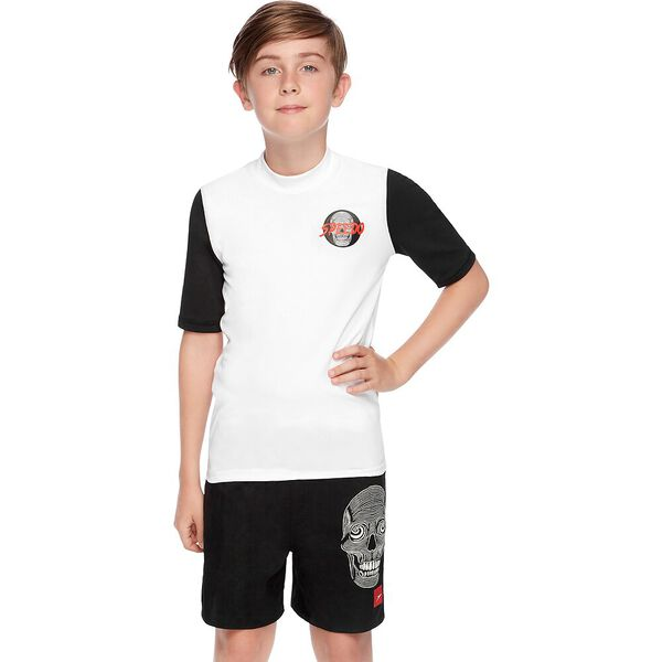 BOYS ICON LOGO SHORT SLEEVE RASHIE, White/Mesmerize, hi-res
