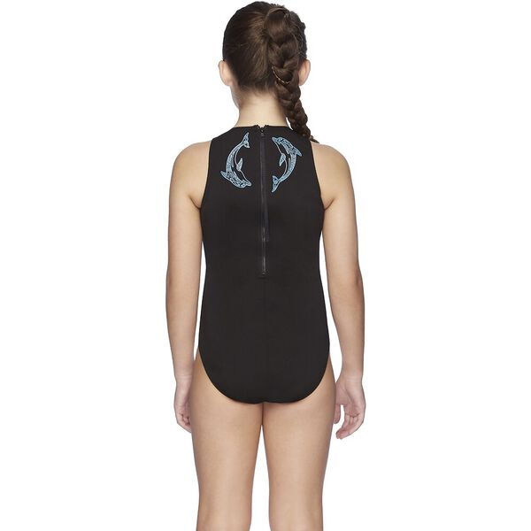 Girls Turbo Suit One Piece, Black/Fluro Wave, hi-res