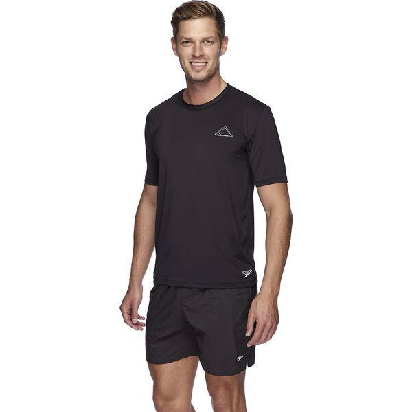 Mens Ocean Tee Short Sleeve Rashie, Black/Silver, hi-res