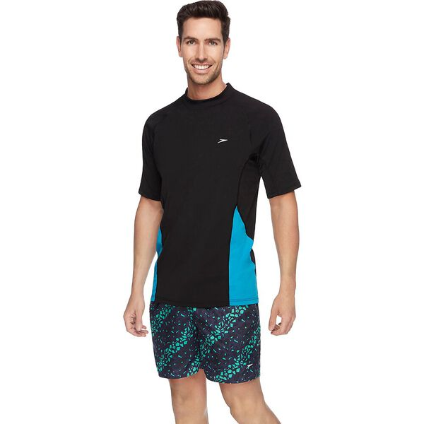 MENS FLOW REG SHORT SLEEVE RASHIE, Black/Lake, hi-res