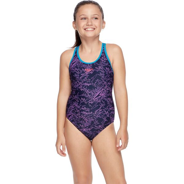 GIRLS BOOM SPLASHBACK ONE PIECE, Speedo Navy/Orchid, hi-res