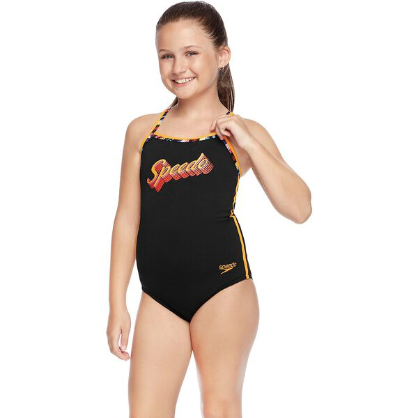 GIRLS MULTI LINES SIERRA ONE PIECE, Black/Retro Vibe, hi-res