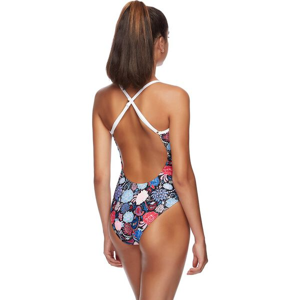 WOMENS HIGH LEG OPEN X BACK ONE PIECE, PRIME, hi-res