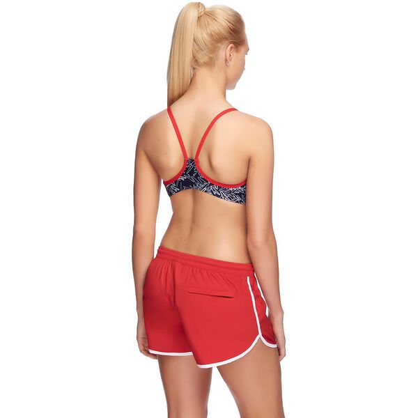 WOMENS WORK OUT SHORT, SPORT RED/WHITE, hi-res