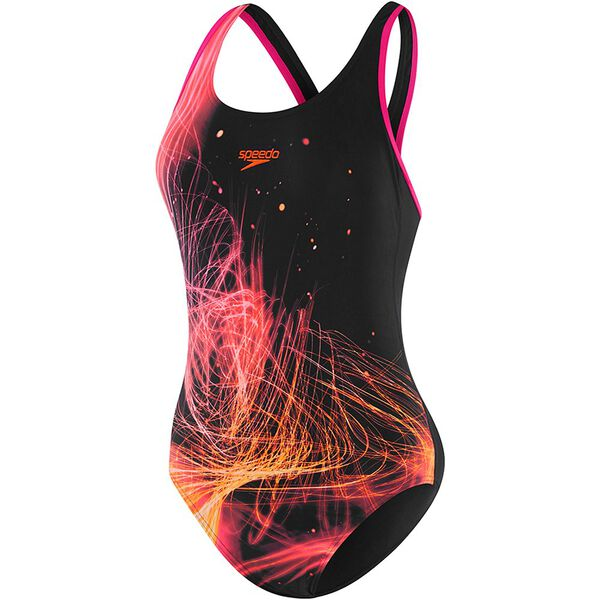 WOMENS MUSCLEBACK ONE PIECE, NEON GLOW/BLACK/E PNK, hi-res