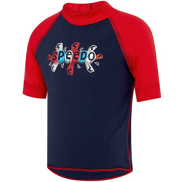 TODDLER BOYS LOGO SHORT SLEEVE SUNTOP, Speedo Navy/Bolt Zap, hi-res