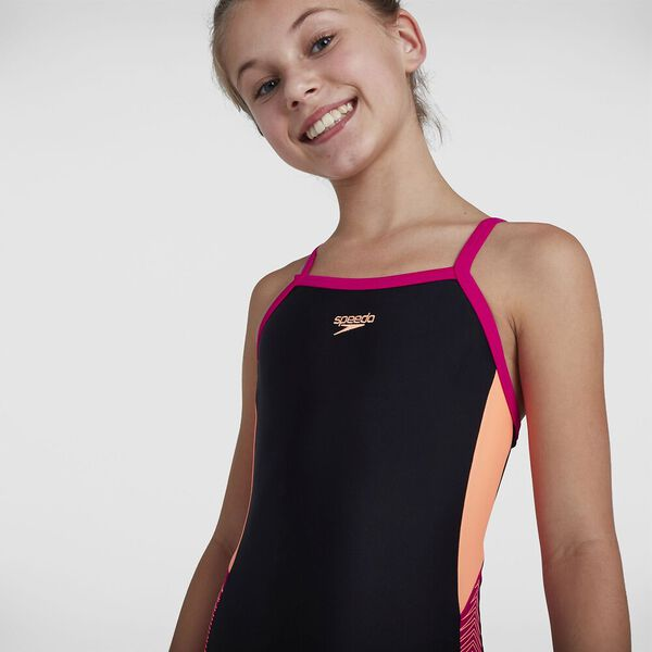 Girls Dive Thinstrap Muscleback, Black/Neon Fire/Electric Pink, hi-res