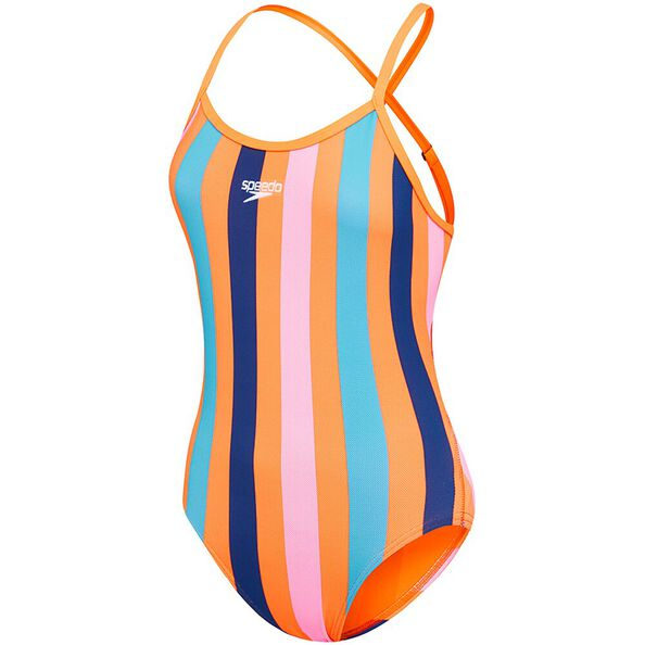 WOMENS HIGH LEG OPEN X BACK ONE PIECE, SUNNY STRIPE/FLARE, hi-res