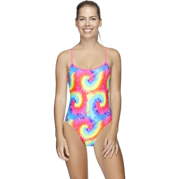 Womens Squad Surf High Leg One Piece, Tie Swirl/Game Pink, hi-res