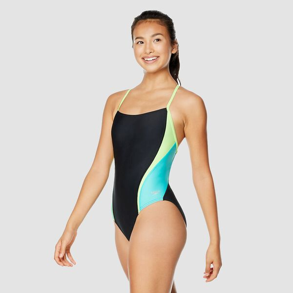 Womens Relay Back Splice One Piece, Black/Green, hi-res
