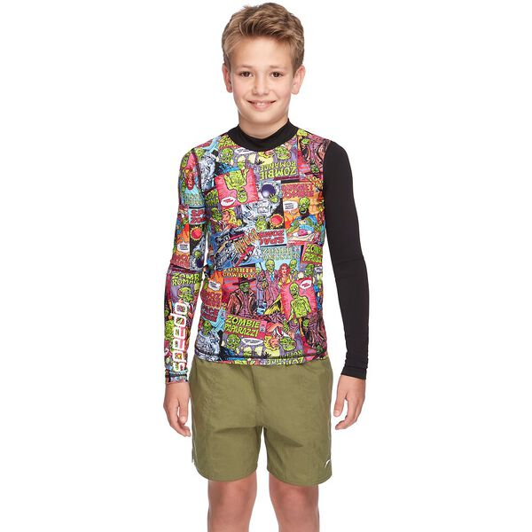 BOYS TRPCL BNEZ LONG SLEEVE RASHIE, Black/Hero, hi-res