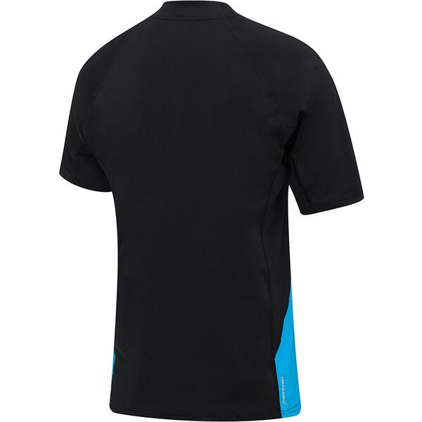 MENS FLOW REGULAR SHORT SLEEVE RASHIE, Black/Lake, hi-res