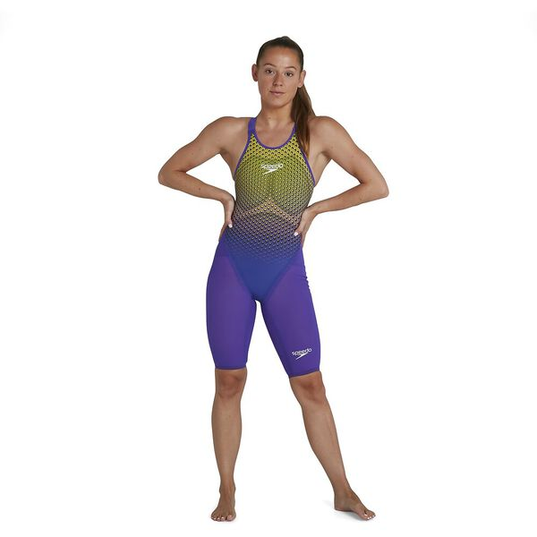 Womens Fastskin LZR Pure Valor Closedback Kneeskin, Violet/Fluo Yellow/Black, hi-res