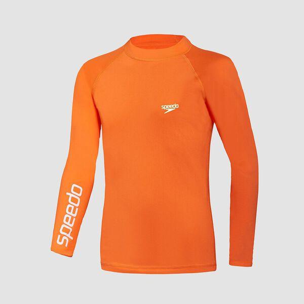 Boys Safety Long Sleeve Sun Top, Fluro Orange, hi-res
