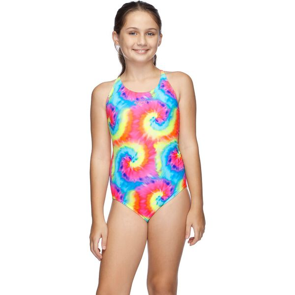 Girls Squad Loopback One Piece, Tie Swirl/Game Pink, hi-res