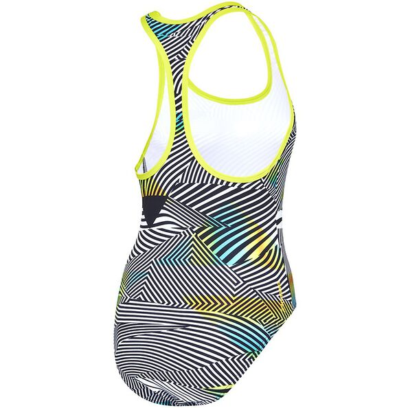 WOMENS SWIMMER ONE PIECE, Sound Waves/Mojito, hi-res
