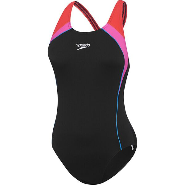 Womens Image Uplift One Piece, Black/Neon Pink/Lava Red, hi-res