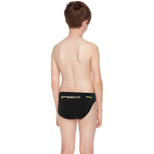 BOYS ENDURANCE+ LOGO BRIEF, Black/Amalfi/Safety Yellow, hi-res