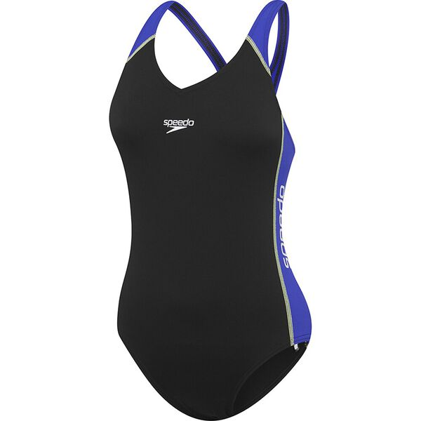 Womens Splice One Piece, Black/Trick, hi-res