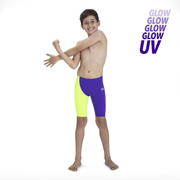 Junior Boys Fastskin Endurance+ High Waisted Jammer, Violet/Fluo Yellow, hi-res