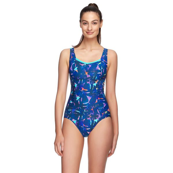 WOMENS CONTOUR MOTION ONE PIECE, TROPICS/SPEEDO NAVY, hi-res