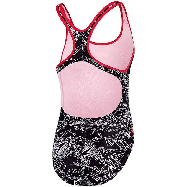 GIRLS MONO SPBK ONE PIECE, Black/White/Sport Red, hi-res