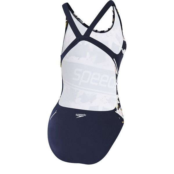 Womens High Leg Leaderback One Piece, Rubescens Lily/Speedo Navy, hi-res