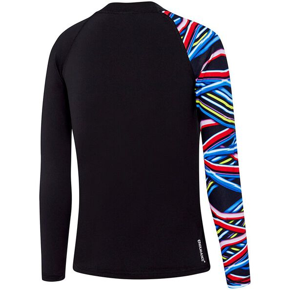 BOYS SAFETY LONG SLEEVE SUN TOP, Black/Beam, hi-res