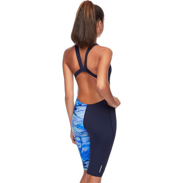 WOMENS LEADERBACK LEGSUIT, SPEEDO NAVY/SHATTER ORB, hi-res