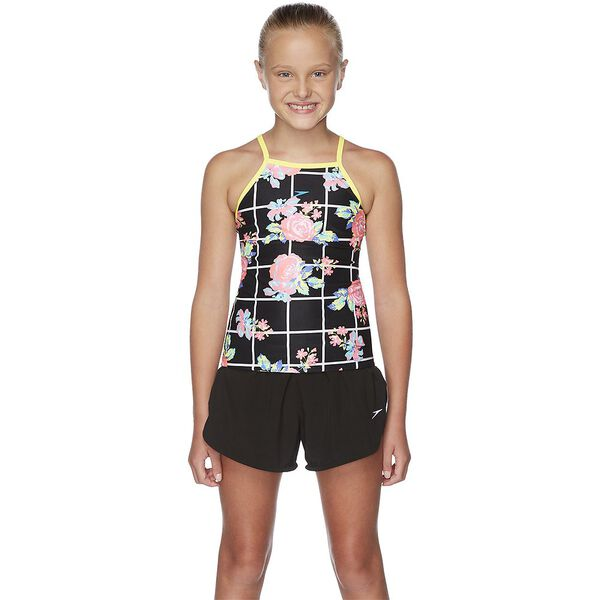 GIRLS FLORICHECK HIGH NECK TANKINI, Floricheck/Black, hi-res