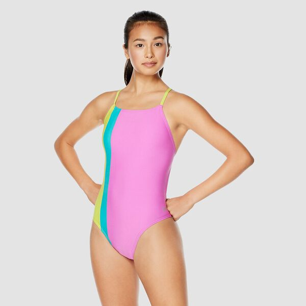 Womens Colour Block Splice Tie Back One Piece, Pink/Yellow, hi-res