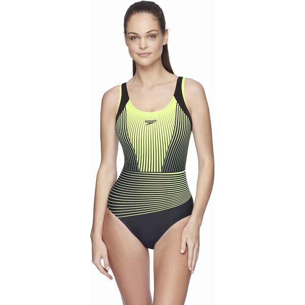Womens D/DD Muscleback One Piece, Black/ Zest Illusion, hi-res
