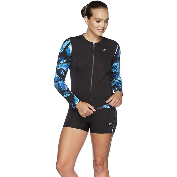 WOMENS SP ECO FABRIC ZIP UP LONG SLEEVE RASHIE, WIN/BLK, hi-res