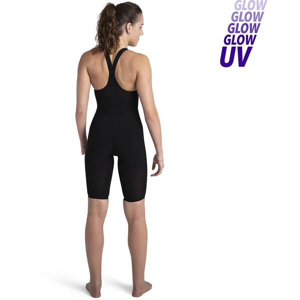Womens Fastskin LZR Pure Valor Closedback Kneeskin, Black/Fluo Yellow/Jade, hi-res