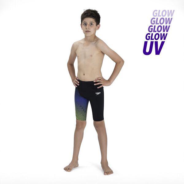 Junior Boys Fastskin Endurance+ High Waisted Jammer, Black/Violet/Fluo Yellow, hi-res