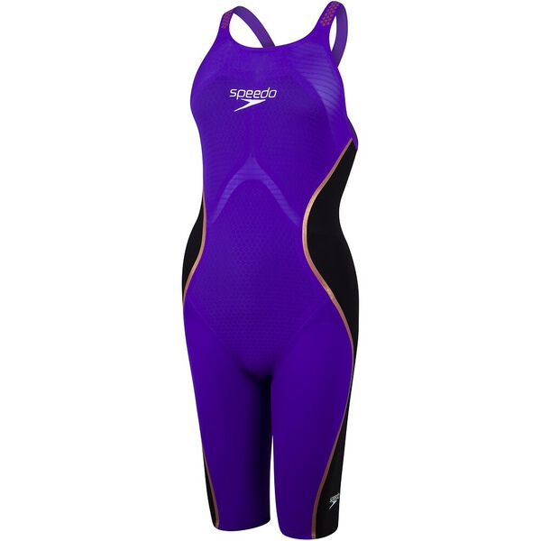Womens Fastskin LZR Pure Intent Openback Kneeskin, Violet/Black/Rose Gold, hi-res