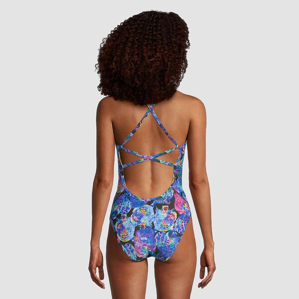 Womens Printed X Back One Piece, Catatonic, hi-res