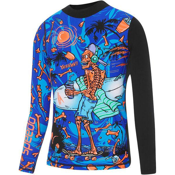 BOYS TRPCL BNEZ LONG SLEEVE RASHIE, Tropical Bonez/Black, hi-res