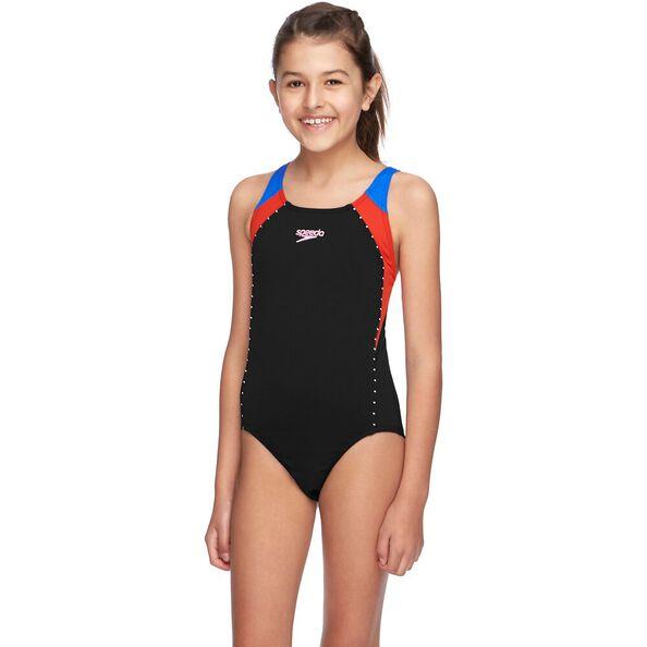 GIRLS SPORT IMAGE ONE PIECE, Black/Sport Red/Cadet Blue, hi-res