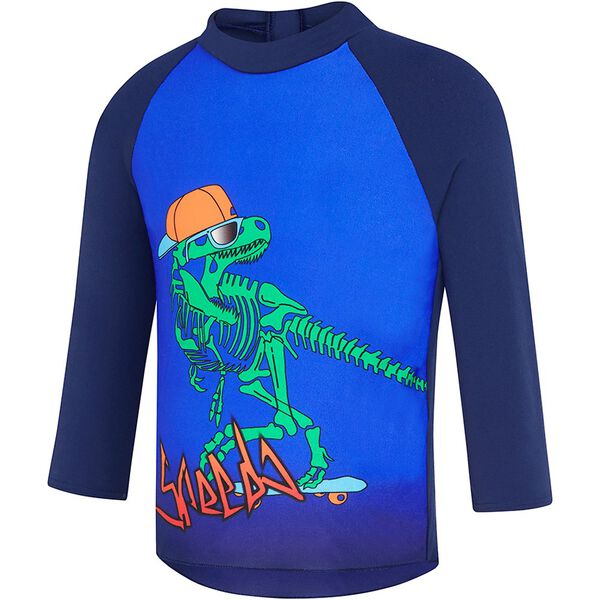 TODDLER BOYS FLAMING DRAGON LONG SLEEVE RASHIE, Gnarly Dino, hi-res