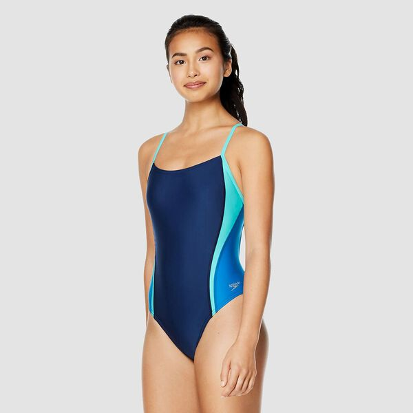 Womens Relay Back Splice One Piece, Navy/Blue, hi-res