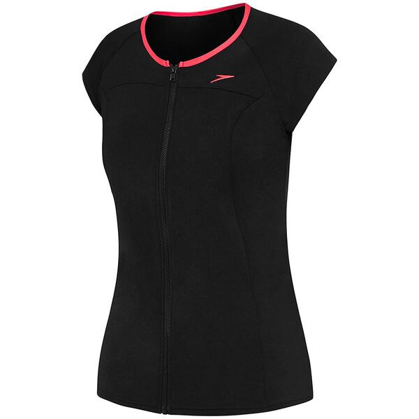 Womens Cap Sleeve Sun Top, Black/Redgum, hi-res