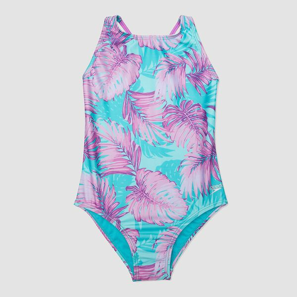 Girls High Neck Strappy Back One Piece, Paintedpalms, hi-res