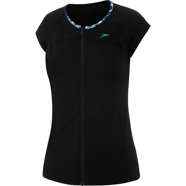 WOMENS CAP SLEEVE SUN TOP, BLACK/RAIN, hi-res