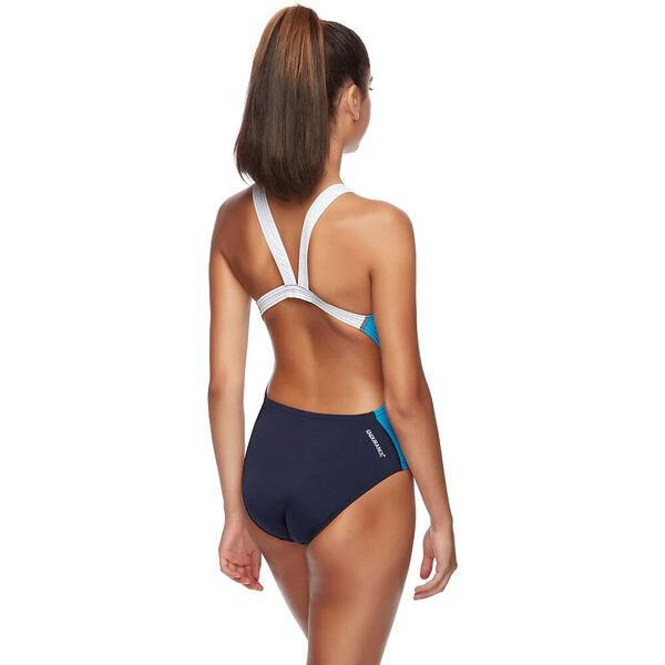 WOMENS TWO TONE LEADERBACK ONE PIECE, SPEEDO NAVY/LAKE, hi-res