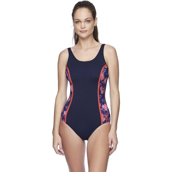 Womens Concealed D Cup Tank One Piece, Rozion/Speedo Navy, hi-res