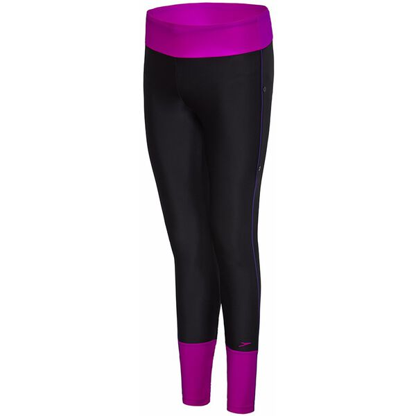 WOMENS SWIM LEGGING, Black/Fluro Magenta/Ultramarine, hi-res