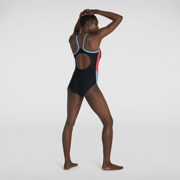 Womens Dive Thinstrap Muscleback 1Pc, Black/Volcanic Orange/Hypersonic Blue, hi-res