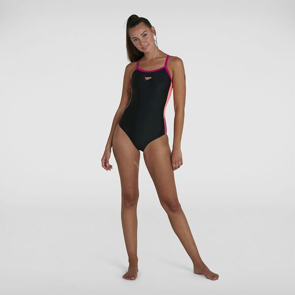 Womens Dive Thinstrap Muscleback 1Pc, Black/Neon Fire/Electric Pink, hi-res